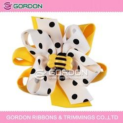 black dot and yellow basic ribbon big hair bow
