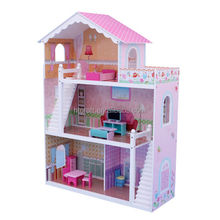 86x32.5x(H)110cm Pink E1 MDF Easy Assembly Triple Storeys Kids Wooden Toy Doll House/Flat Pack Wooden Toy House/Toy House