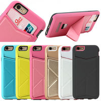 New Folding Leather Back Case Cover Skin for iPhone 6 Plus, PC Hard Stand Cover for iPhone 6 Plus Slim Case with Card Holder