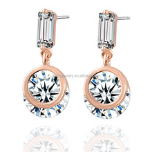 2015 wholesale rose gold plating earring accessories with CZ stone
