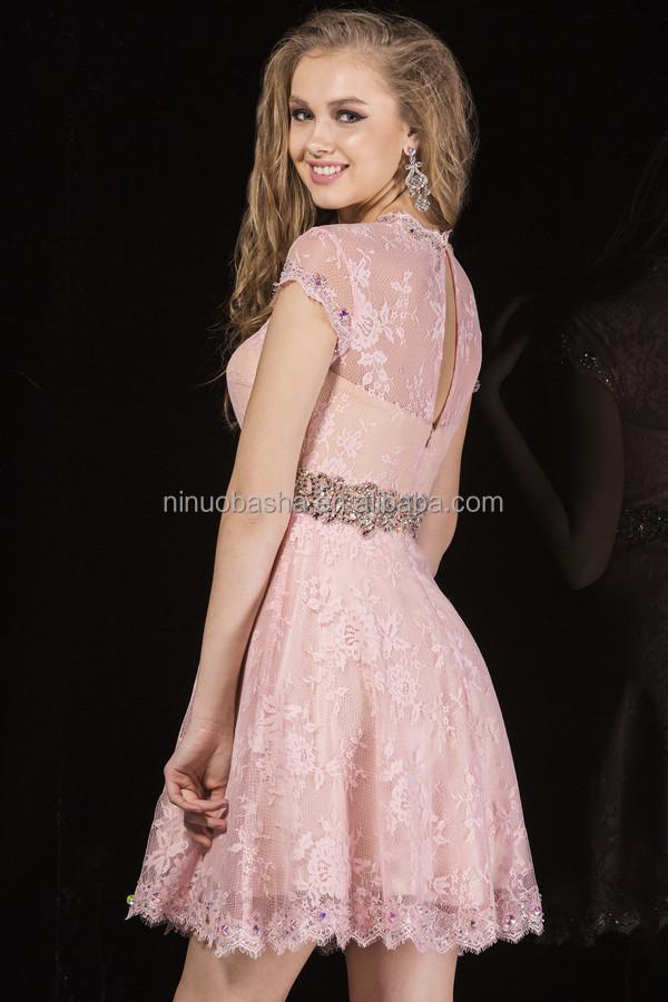 2014 Beautiful Pink Short Lace Prom Dress High Neck Cap Sleeve Sheer ...