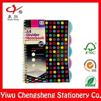 Wholesale spiral notebook with colored index tab dividers