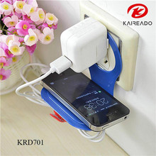 KAREADO free shipping foldable wall charger promotional gift plastic cell phone holder