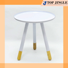 Simple Style 3 Foot Round Wooden White Coffee Table