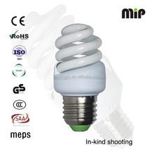 high quality mini full spiral 12W T2 E27 6500K AISHI capacitor energy saving lamp factory