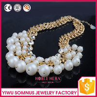 traditional artificial rhinestone beaded acrylic pearls necklace in bulk