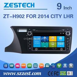 ZESTECH Wholesale 9 inch 2 din car gps with auto radio dvd gps bluetooth tv for HONDA CITY 2014 LHR