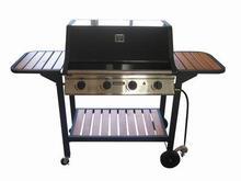 4 queimadores churrasco Grills com prateleiras de madeira gás propano de cozinha ao ar livre equipamentos de cozinha