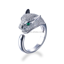 Fashion Jewellery animal lion head with cz micro pave setting ring