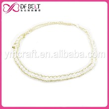 Fashion design pearl beads gold chain belt wedding dress for lady