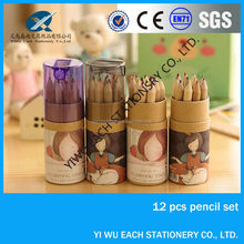 """3.5"""" 12 pcs natural wooden multi color pencil in the tube yiwu pencil factories,pencils with logo"""