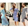 2015 패션 여자 여름 드레스 섹시한 MS 스트라이프 긴 드레스
