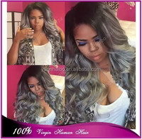 7a quality brazilian virgin grey hair loose wave silver grey ombre two tone front lace wig