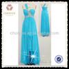 CY50292 turquoise sale high quality chiffon design evening dresses from dubai | blue chiffon rhinestone prom dresses
