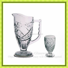 Pattern engraved glass water pitcher with stand for red wine glass bottle