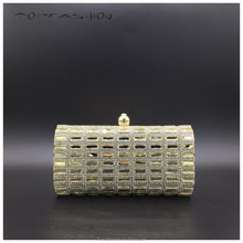 2015 Pretty rectangle rhinestone mix small clear crystal evening bag