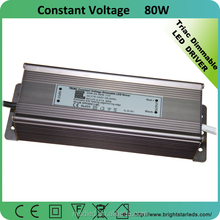 High Efficiency 24v 80W 0~100% dimming triac constant voltage waterproof led driver dimmable ip67 led power supply