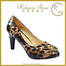 Free sample women open toe shoes Animal Fur Open Toe lady High Heel Shoes