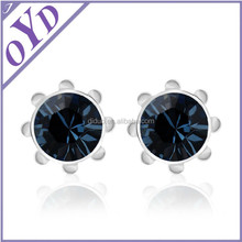 2015 lady crystal earring, real crystal earring stud