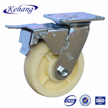 caster with brake,heavy duty zinc plated top plate white nylon rigid caster wheel