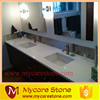 High quality snow white quartz stone vanity tops with wood cabinet