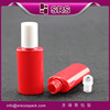 SRS 2015 new packaging empty PET bottle with roll on sealing type, plastic 12ml red oval shape eye gel container