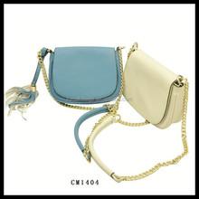 white color pu chain cross body bag mini saddle bag