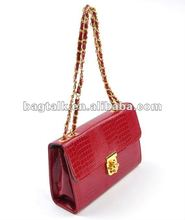 Fashion Ladies Handbag with Chain Handle shiny PU leather shoulder bag