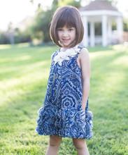 Hot Sale 2015 Blue print Summer Baby Girls Beach dress Petit Azure Circle Girls Movement Dress - Toddler & Girls Wears Z-GD8072