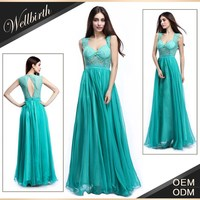 sparkle beaded floor length evening dress 2015 green color for japanese prom