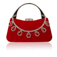 Hot New Women Clutch Bag Crystal Beaded Party Wedding Evening Bag with Handle
