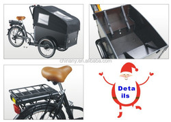 3 wheel electric family cargo bike to cargo children