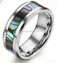 Men's Pearl Belt Tungsten Ring antique pearl rings Tungsten Carbide Ring with Mother of Pearl Inlay