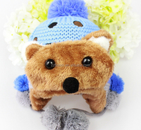 Baby winter warm knitted cap, lovely bear hat for boy, wholesale newborn baby cap