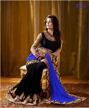 Dual Color Blue and Black Saree with heavy work on blouse