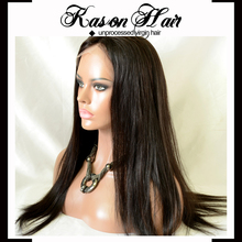 Qingdao Kason Hair New Products Human Virgin Straight Brazilian Hair silk base full lace wig type Silk Lace Cap For Wig Making
