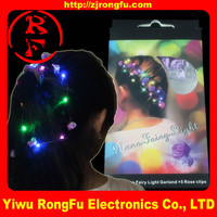 custom Fiber Optic flashing rose hair light up LED rose hair glow in the dark