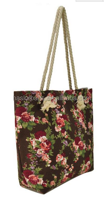 Fashoin toile corde poignée sac de plage pour dame