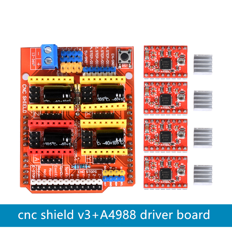 CNC Shield V3 3D Printer Engraver Expansion Board A4988 Driver Board for Arduino