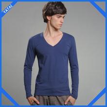 fashion custom long sleeve v-neck t-shirt for men