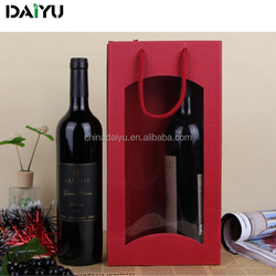 luxury bottle wine paper bag with window for red wine