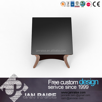 Beautiful design square glass top high gloss wooden coffee table