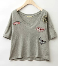 EY0409B New Fashion women's short sleeve V neck embroidery t shirt