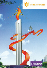 Simple torch metal sculpture for urban decoration