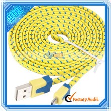 2M Braided Cable noodle Micro USB Cable Sync Nylon Woven Charger cable