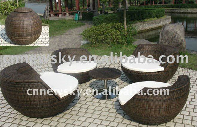 patio en rotin rond canap fixe jardin meubles en osier en. Black Bedroom Furniture Sets. Home Design Ideas