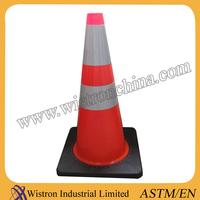 28 Inch Black Base Wide Interlock PVC Road Cone