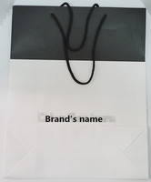 FDT customized white and black wood-free paper varnishing logo printed shopping paper bag for cloth