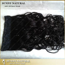 Wavy Natural Black Human Hair 5 Clips on Brazilian Flip in Hair Extension