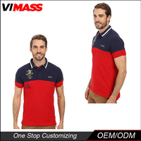 New design hot selling in alibaba china red and dark blue custom mens polo collar striped t shirt